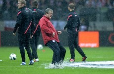 Torrential downpour: England and Poland will have to play it again