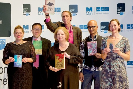 Hilary Mantel (centre) pictured with her fellow nominees