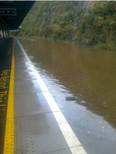 Waterford train station is flooded... very flooded