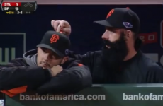 VIDEO: Brian Wilson doesn't get bored - he just pretends to play the organ on a team-mate's head