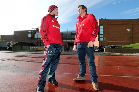 Bryce Cavanagh (left) chats to CJ Stander.
