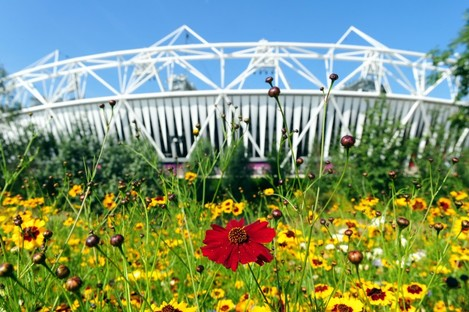 Flowers outside the Olympic Stadium in the Olympic Park, London.