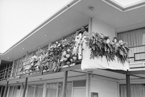 The balcony outside the room where Martin Luther King was shot and killed