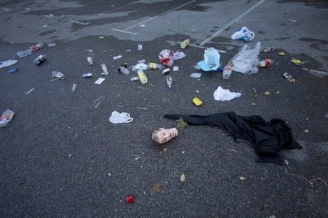Debris in the Madrid Arena venue car park, near where four people died in a stampede during a large Halloween party