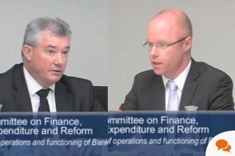 Stephen Donnelly questions Richie Boucher of Bank of Ireland at the Oireachtas Finance Committee