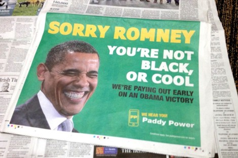 The Paddy Power ad featured prominently on page 3 of today's Irish Times, among others.
