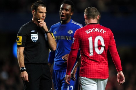 Clattenburg with Mikel and Rooney two weeks ago.