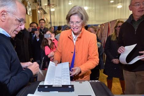 Elizabeth Warren casts her vote in Massachusetts earlier today.