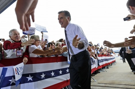 Mitt Romney campaigning in Florida yesterday: Barack Obama has outperformed expectations in Florida and holds a narrow lead as votes are counted.