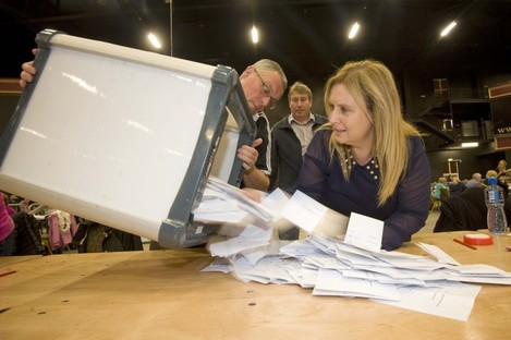 Ballot boxes are opened in the Childrens Rights Referendum count at CityWest in Dublin