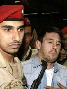 Here's your 'Lionel Messi with a machine gun poked in his face' pic of the day