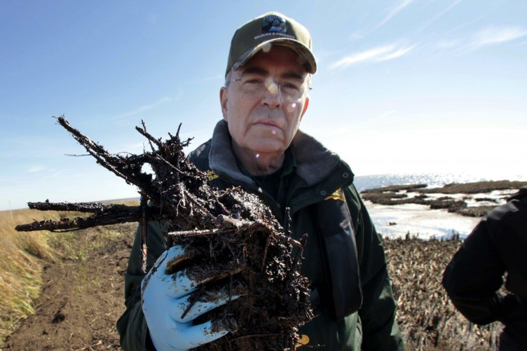 Louisiana Wildlife and Fisheries Secretary Robert Barham holds up a clump of oil and dead marsh grass from the Deepwater Horizon oil spill.