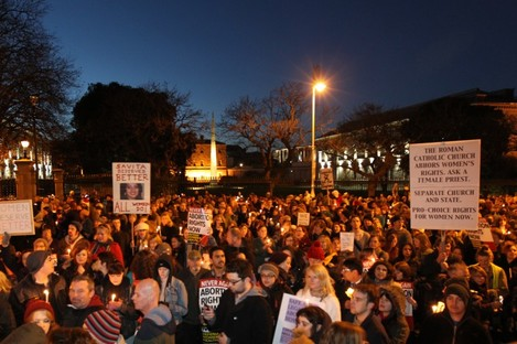 Some of the crowd at the rally for Savita in Dublin yesterday