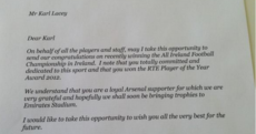 Arsene Wenger congratulates Karl Lacey on winning All-Ireland, Player of the Year