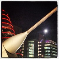 View of the full moon and Jupiter from Samuel Beckett bridge