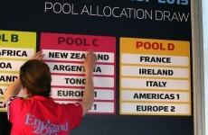 Ireland to face France, Italy at 2015 Rugby World Cup