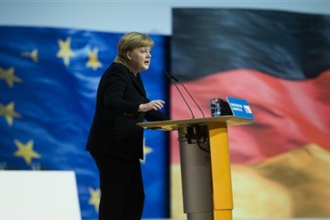 Merkel delivers her keynote speech at the CDU Party in Hannover today.