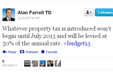 Property tax 'won't kick in until July', tweets Fine Gael TD