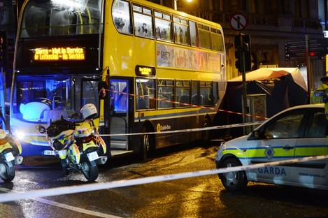 The scene of the incident last night at the Nassau St/Dawson St junction.