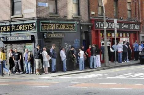 File picture of unemployment dole queue in Dublin.