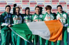 President Higgins congratulates Fionnuala Britton and Irish team