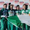 President Higgins congratulates Fionnuala Britton and Irish team
