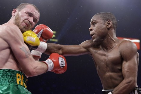 Javier Fortuna connects with Paddy Hyland's jaw.