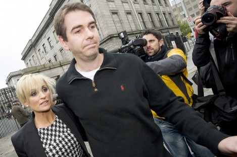 File photo of Sean Quinn Junior and his wife Karen Woods leaving the High Court.