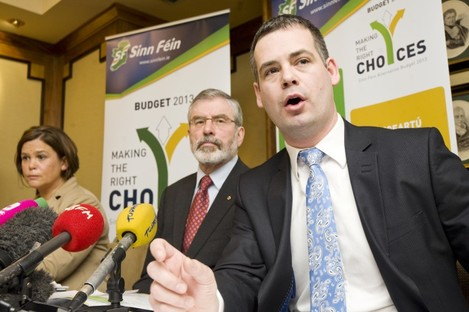 Pearse Doherty (far right) with Mary Lou McDonald and Gerry Adams at the Sinn Féin pre budget submission.