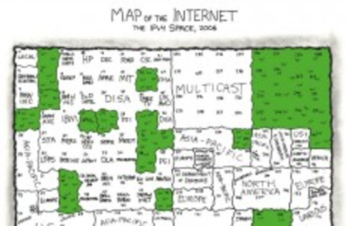 Watch out: we're about to fill up the internet · TheJournal.ie on ip route map, ip subnet map, port map, address locator map, ipv6 map, show my ip map, internet map, dns map, google map, network map, street address map, ddos attack map, find map, memory map, show address on map, ip viking map, gps coordinates map, name map, live ip map, proxy map,