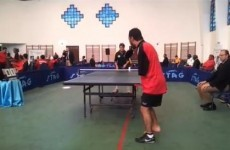 VIDEO: Armless player competes in table tennis championships