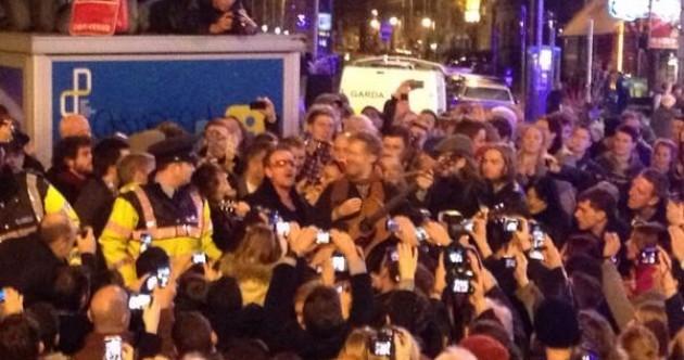 VIDEO: Bono and Glen Hansard busking on Grafton Street this evening