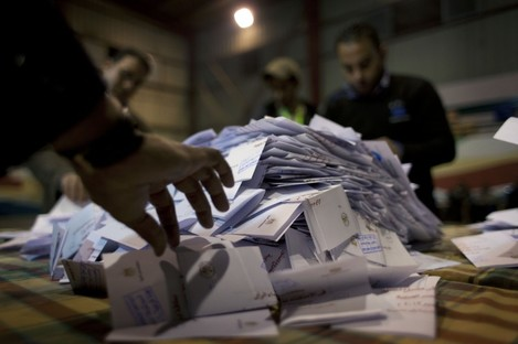 Ballots from the referendum on Egypt's new constitution which has been passed.