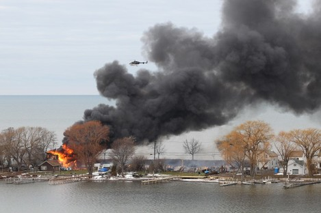 A burning house in Webster, New York on Monday morning
