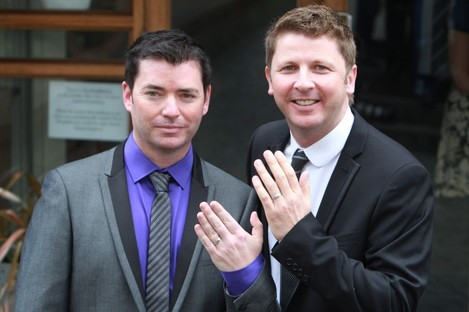 Barry Dignam and Hugh Walsh became the first male couple in Ireland to avail of new legislation allowing civil partnerships for same-sex couples in April 2011.