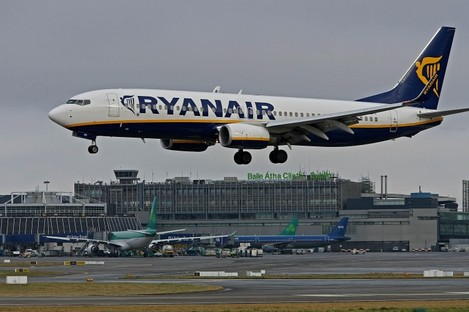 A Ryanair plane landing at Dublin Airport (File photo)