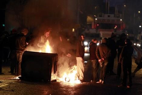 A burning barricade on the Newtownards Road area of Belfast last night