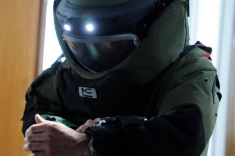 A member of the Army bomb disposal team