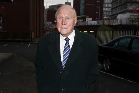 Broadcaster Stuart Hall arrives at Preston Magistrates Court today.