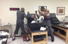 Snapshot: Kobe Bryant tries to kill the story about the fight with a fellow Laker... with this picture