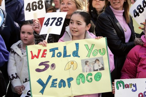 Demonstrations outside Leinster House in 2006, when the number on hospital trolleys reached 495.