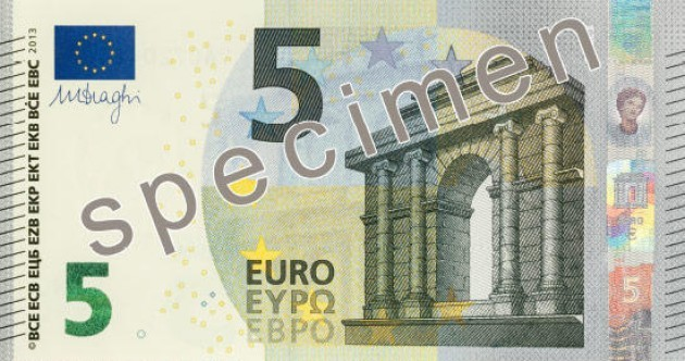 The €5 note is getting a facelift in May