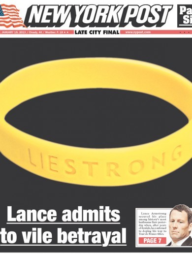 'Liestrong': here's the front page of today's New York Post
