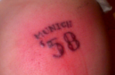 Dear God, look at the idiotic 'Munich '58' tattoo one Liverpool supporter got this week