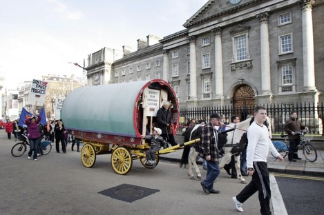Travellers march to the Dáil in 2009 in a bid to promote the recognition of Travellers as a minority ethnic group