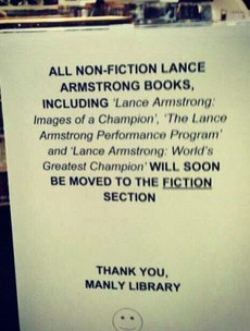 Library moves Lance Armstrong books to fiction section