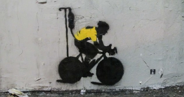 Lance Armstrong is still an inspiration to some people -- like this Los Angeles street artist