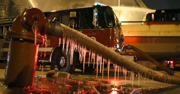 Photos: Firefighters battle blaze at freezing Chicago warehouse