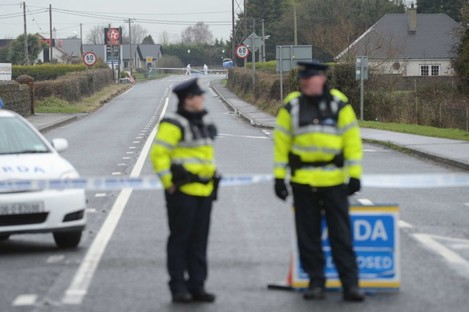 The scene of the killing at the Lorship Credit Union in Dundalk, Co Louth.