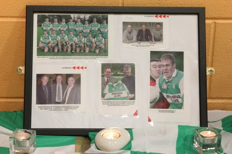 A pictorial tribute to murdered Detective Garda Adrian Donohoe at St Patrick's GAA club near his home at Lordship, Jenkinstown, Dundalk.
